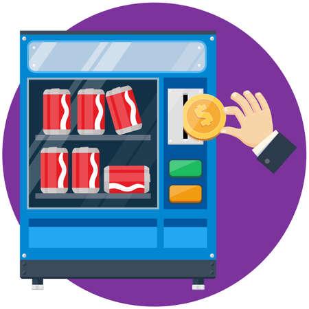 Soda blikjes automaat met hand drop gouden dollar muntstuk vlakke afbeelding Vector Illustratie
