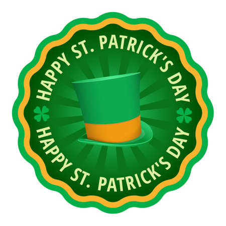 patrics: Happy Saint Patricks day greeting card label, text in circle with quatrefoil leaf clover and cylinder hat in center of circle, flat color circle badge st.Patricks day greeting vector illustration Illustration