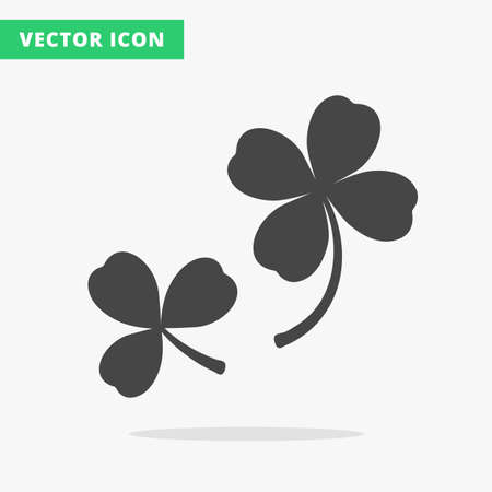 quatrefoil: Trefoil and quatrefoil clover leaf traditional Irish symbol, St. Patrick Day clovers flat vector icons, black silhouette luck sign on white background