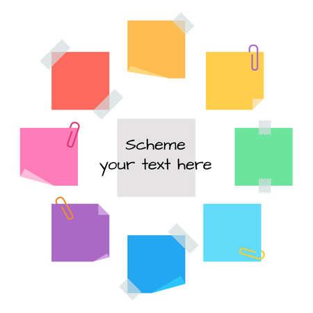 nota de papel: círculo de información de clips de papel y nota adhesiva, en blanco para la información