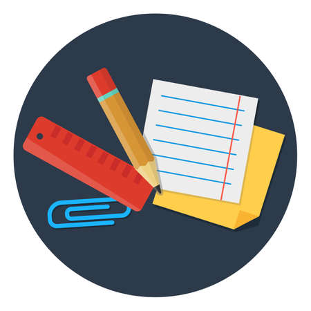 chancellery: stationery set flat vector elements clip, tape, pencil, note paper isolated on dark background Illustration