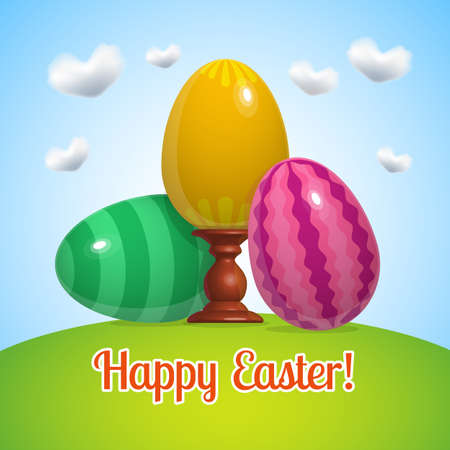 flowered: Happy Easter card vector illustration with easter eggs and greeting text, banner on blue sky grass background, painted eggs set with rack, eggs painted in striped, flowered, and the wavy line patterns