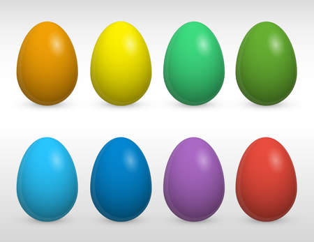 light shadow: Easter eggs set on grey background with light shadow, monochrome colored painted easter eggs vector icons collection