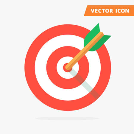 Color target icon, pictograph of target, icon flat isolated target, arrow hit the center of target red and green colors