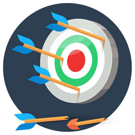 stylize: Dart arrows miss target on color background in circle, lose flat vector illustration broken arrow, 3d stylize