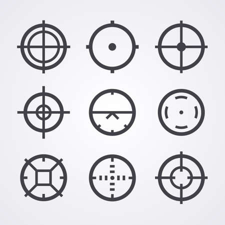 shooters: AIM crosshair set icons for computer PC games shooters, arcades, mouse cursors pointers, cross lines in circles, original aim pictograms images