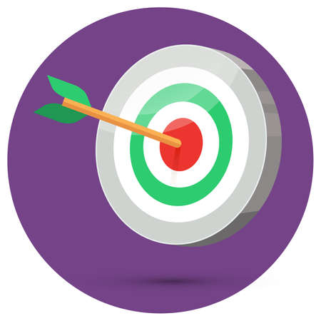 stylize: Dart arrow hitting center target on color background in circle, flat vector illustration, 3d stylize