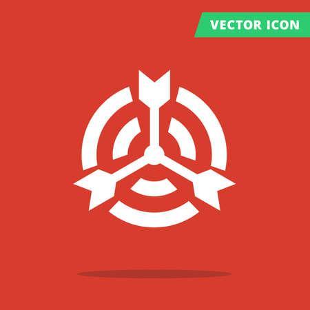 shots: Color target icon, pictograph of target with many arrows shots in center, icon flat isolated target, darts hit the center of target red color background white silhouette sign