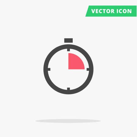quickly: Clock stopwatch icon Vector illustration, flat clock arrows black silhouette stop watch sign speed, simple time icon with color element arrow vector watch image, quickly stopwatch Illustration