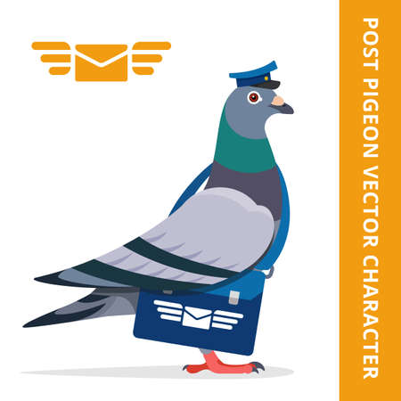 animalia: Pigeon postman bird vector character color illustration pigeon postman with blue hat and bag logo mail envelope wings
