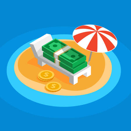 overseas: Money resting on the sunny beach, lying on a lounger under a parasol striped umbrella on the island overseas, flat color vector shaped illustration of offshore, banknotes money get a rest from taxes