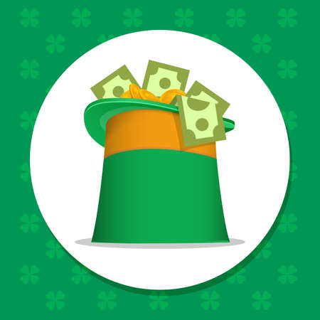 gold leafs: st Patrick day sign Full of money and gold paper dollars Irish leprechaun green hat vector illustration for a card, banner, label, holiday sign green hat circle on color background with clover leafs