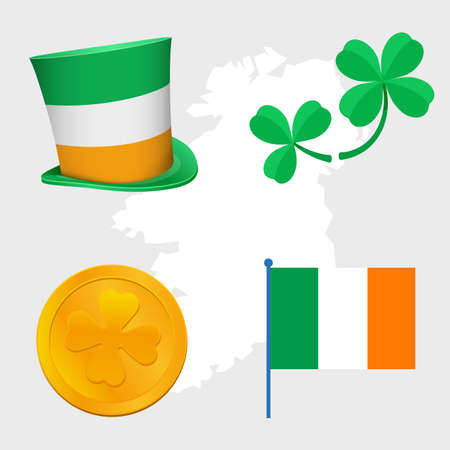 gold leafs: st Patrick day congratulation signs objects hat, clovers leafs, irish flag and gold coin money, symbols of rich, wealth and good luck