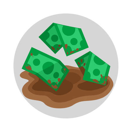 grime: Dirty money in puddle flat color icon, cartoon vector illustration of grime money finance