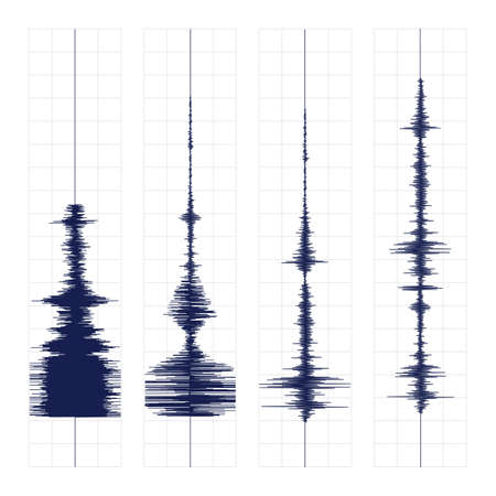 seismograph: Seismogram of different seismic activity record vector illustration, earthquake wave on paper fixing, stereo audio wave diagram background