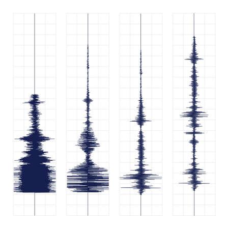 Sismogramma di diversi illustrazione vettoriale sismica record di attività, onde terremoto il fissaggio di carta, onda audio stereo schema di fondo