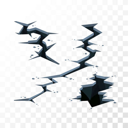 imposing: Illustration of cracks in the ground for imposing on any background, the effects of earthquake or other disaster, color vector elements for backgrounds