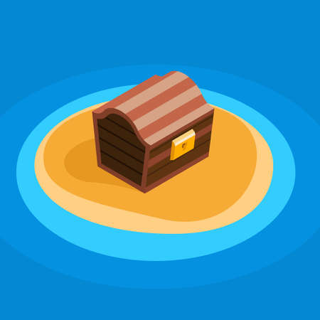 deserted: Treasure chest on a deserted lonely little island, flat color vector cartoon illustration, chest color icon