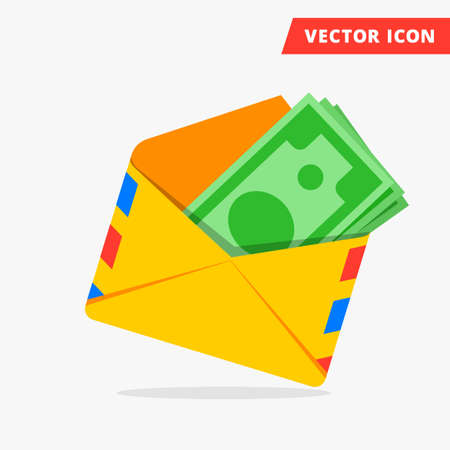 wages: Money in post envelope flat vector icon illustration of hidden wages, salaries black payments, hidden money icon, tax evasion, freedom from taxes sign