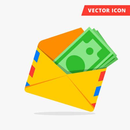 L'argent en post enveloppe plate vecteur icône illustration des salaires cachés, les salaires des paiements noirs, caché icône de l'argent, l'évasion fiscale, la liberté de signe des taxes