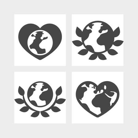 love of planet: Love planet Earth Ecology concepts set, could use on Earth Day greeting banners, labels, cards, Earth in shape heart black silhouette vector sign, planets and peace leaves symbols Illustration
