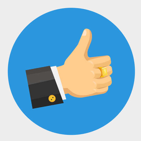 Vector thumb up flat color icon, thumb up icon, thumb up vector color illustration, thumb up icon with rich Signet ring, thumb up flat icon, thumb up of suit rich man