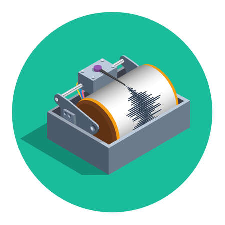 seismograph: Earthquake analog seismograph isolated in circle flat color vector illustration, isometric style flat seismometer recording tool icon teaser Illustration