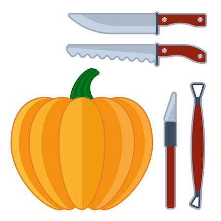 Flache Vektorhalloween-Ikonen des Kürbisgesichtes stellten Werkzeuge und Messer ein