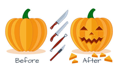 making a face: Pumpkin before and after work with instrument tools , pumpkin face flat vector halloween icon, knife, saw