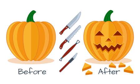 Kürbis vor und nach der Arbeit mit dem Instrument Werkzeuge, Kürbisgesicht flach Vektor Halloween-Symbol, Messer, Säge