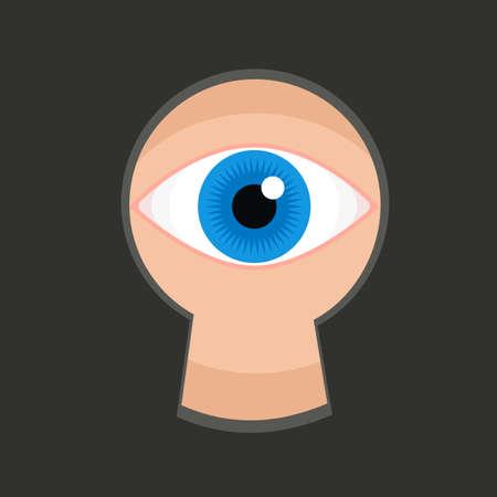 eye hole: Eye in keyhole color flat illustration, teaser spying through the key slit, blue pupil eye in key hole spying or peeping