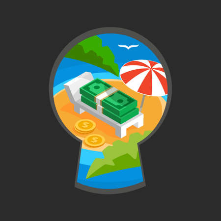 teaser: Money in keyhole color flat illustration, teaser spying through the key slit, money haven with umbrella on ocean beach with palm leaves, money paradise sign of offshore zone Illustration