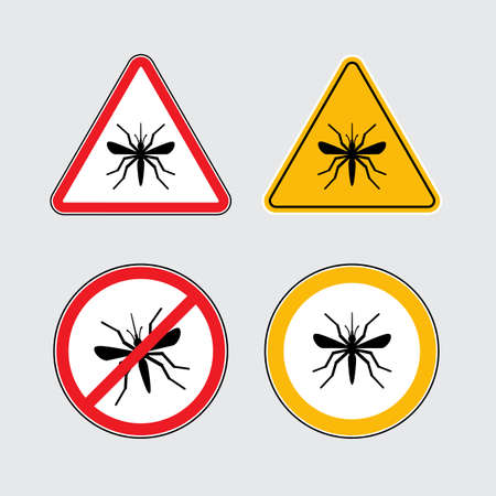 protozoa: Mosquito icons set black flat silhouettes on a white background, Mosquito danger signs, Mosquito in circle and triangle flat icons Illustration