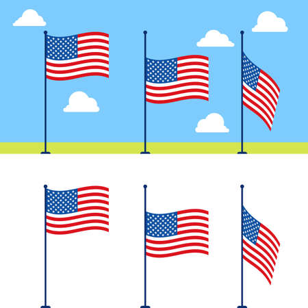 raise the white flag: Flat USA flags set. United States flag color illustration on blue sky background with clouds. Stages of descent or raising the US flag on flagpole Illustration