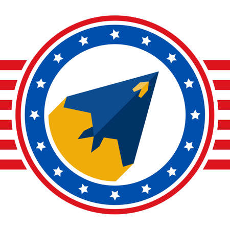 stealth: Round sticker with a picture of stealth aircraft painted in the colors United States flag. Flat USA aircraft label. USA flag style design template - stock background