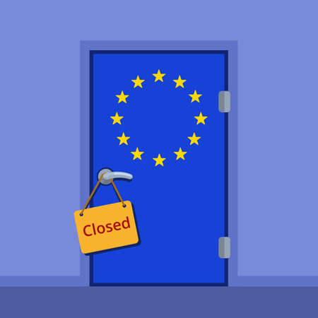 door sign: Do not disturb plate on the door handle. European Union closed door flat color illustration. EU stars flag cartoon image.