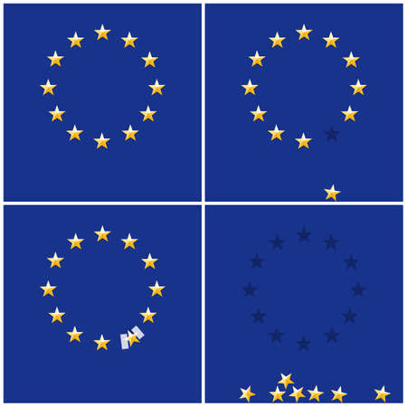 skeptical: European Union ring stars on blue flag background