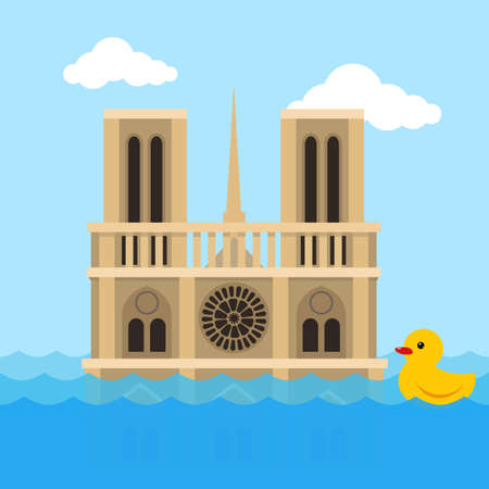 Notre Dame Cathedral flat vector illustration, Paris under the water, a great flood of France, yellow rubber duck swim on the waves cartoon