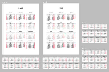 week planner: 2017 Year Calendar Design Simple Style Vector Template. Planner on white background. Week starts from sunday.