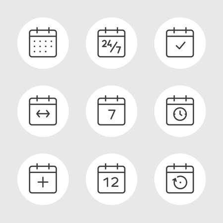 meses del año: Calendario de conjunto de iconos del vector. El tiempo y el estilo de la línea Estaciones simple contorno de los signos. Símbolos del vector de diario, organizador, calendario, semana, los meses, año, fecha en el fondo de color gris Vectores