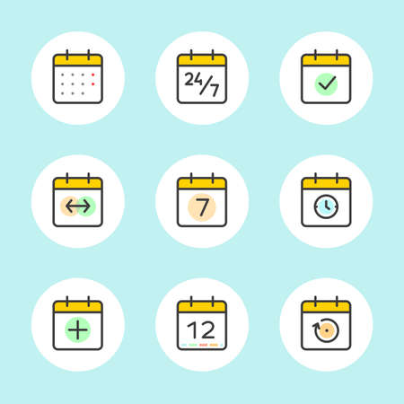 months of the year: Calendar Icons Vector Set. Time and Seasons Simple Contour Line Style Signs. Vector Symbols of Diary, Organiser, Calender, Week, Months, Year, Date Pictogram Outline Icon on blue color background Illustration