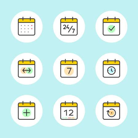 meses del año: Calendario de conjunto de iconos del vector. El tiempo y el estilo de la línea Estaciones simple contorno de los signos. Símbolos del vector de Diario, Organizador, Calendario, Semana, Meses, Año, icono de la fecha del pictograma en esquema en el fondo de color azul