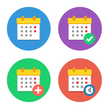months of the year: Calendar Icons Flat Vector Set. Time and Seasons Simple Signs. Vector Symbols of Organizer, Calender, Week, Months, Year, Date Pictogram Color Icons