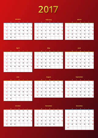 calendar 2017 year template Illustration