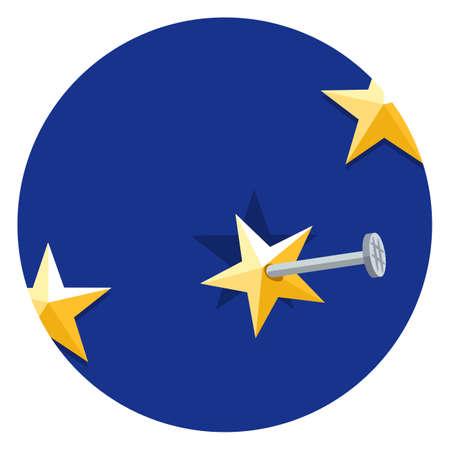 clavados: estrellas de la Unión Europea clavado en un fondo azul, ilustración vectorial plana. Símbolo de pertenencia a la Unión. Vector de la muestra Brexit.