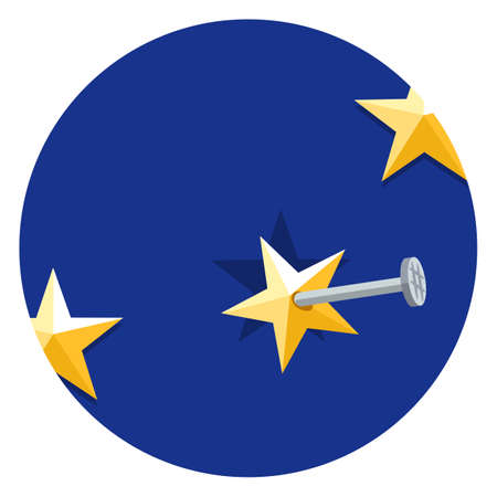 European Union star nailed to a blue background, flat vector illustration. Symbol of membership in the union. Brexit vector sign.