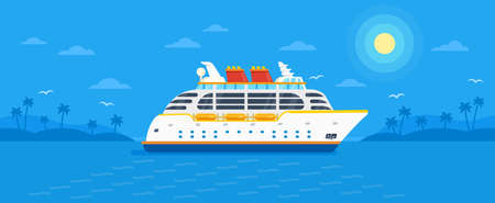 Cruise ship on blue background vector