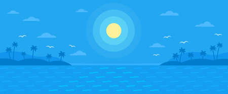 Summer blue flat vector background