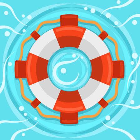 Lifebuoy flat color vector icon Illustration
