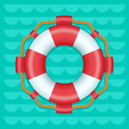 Lifebuoy cartoon style color vector icon